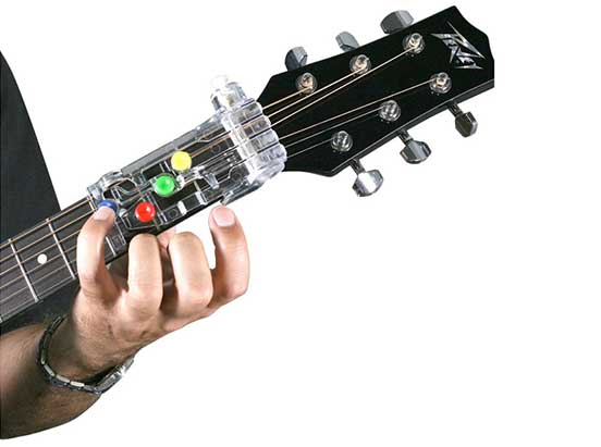 A device that will teach you how to play the guitar