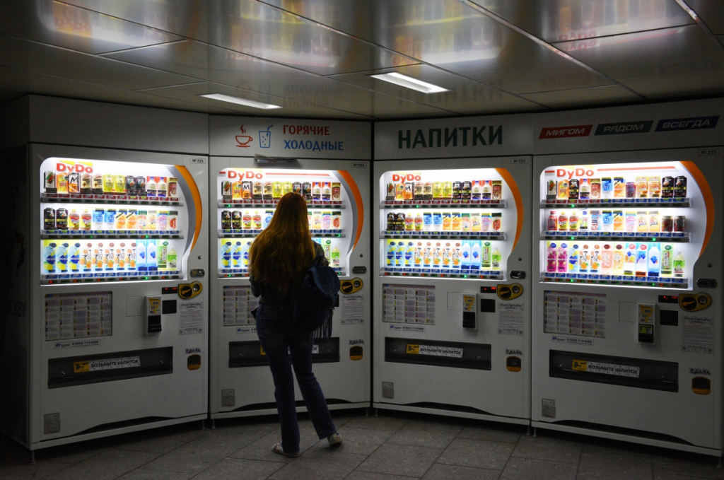 Automatic machines selling soda, cocktails, juices and kvass