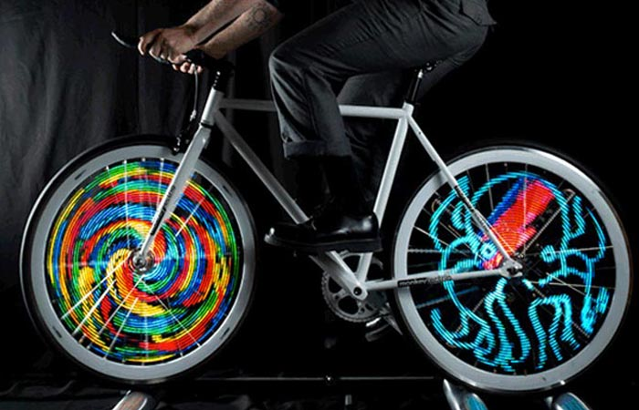 LED animation for bicycle wheels